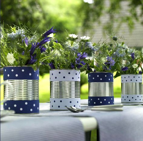 Tin Can Vases adorned with washi tape