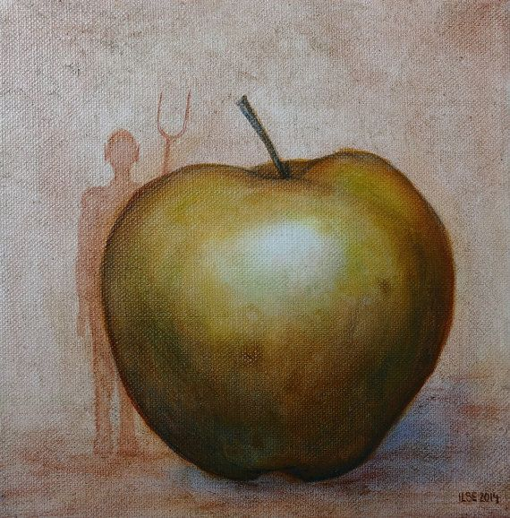 Green apple small original oil painting on stretched by IlseHviid