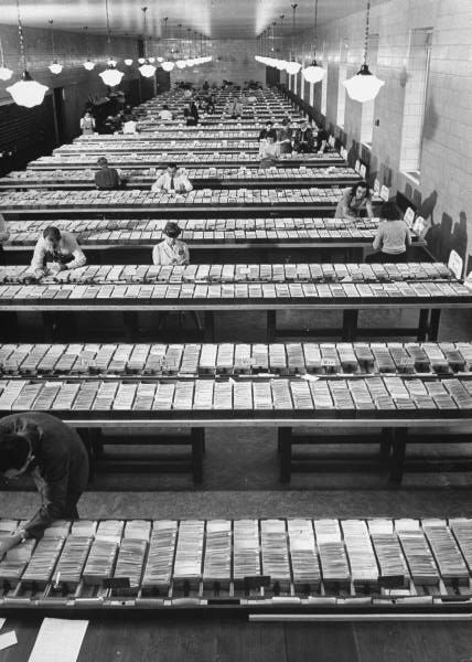The old fashion way of looking for a book, the card catalog room at the Library of Congress, 1941. - Imgur