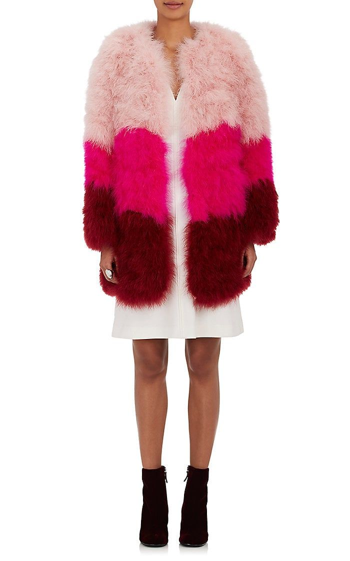 Lisa Perry Colorblocked Feather Coat | Barneys New York