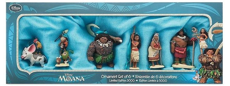 Disney Store Moana Sketchbook Ornament Set of 6 Limited of 5000 New with Box