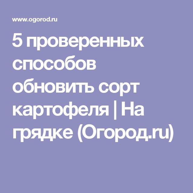 5 проверенных способов обновить сорт картофеля | На грядке (Огород.ru)