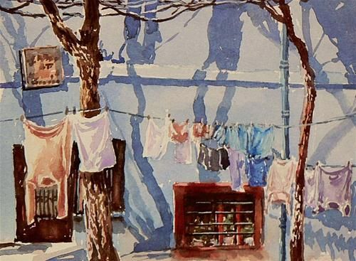 """Daily Paintworks - """"Laundry day"""" - Original Fine Art for Sale - © Mineke Reinders"""