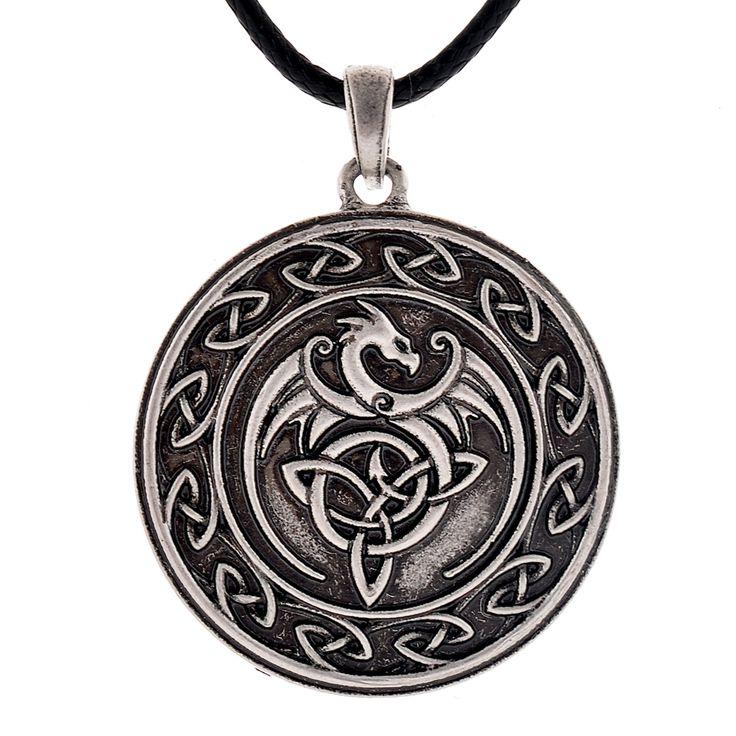 Celtic Dragon Pendant Men Necklace Celtic Triangle Pendant Drop Shipping