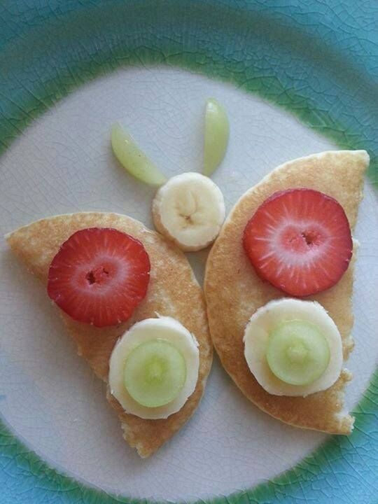 Use our recipe for Pancakes (Happy Herbivore Cookbook, pg. 28 and on the website!) to create cute little butterflies for your kiddos. :)