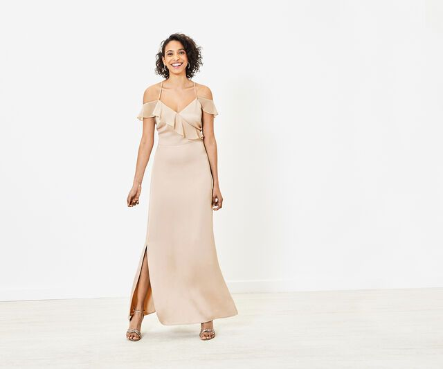 Oasis Ruffle Bridesmaid Dress Gold In 2020 Ruffles Bridesmaid Dresses Dresses Gold Bridesmaid Dresses