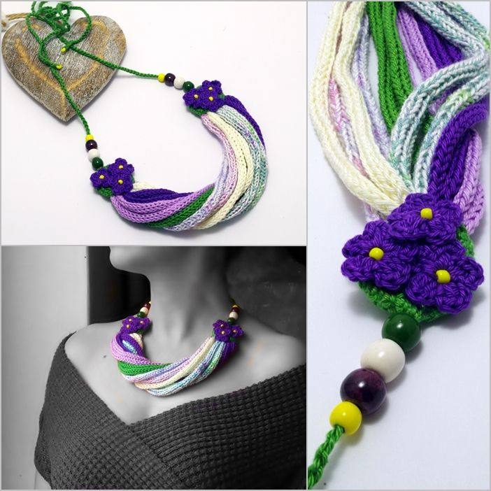 #knitted #twisted #necklace with #flowers in #green #white and #purple colors