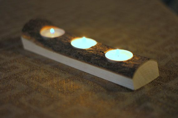 Rustic Log Candle Tray - Log Centerpiece - Log Tealight Holder - Rusitc Home…