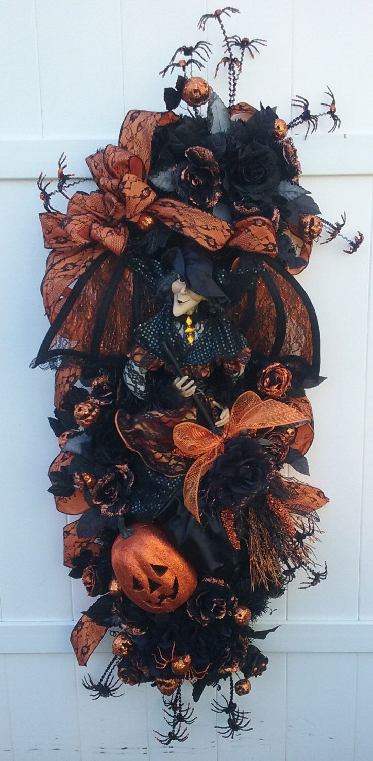 Witch Wreath, Halloween Wreath, Happy Halloween, SOMETHING NOT-So WICKED Handmade Halloween Witch Front Door Wreath Swag by SparetimeSpecialties on Etsy https://www.etsy.com/listing/461043662/witch-wreath-halloween-wreath-happy