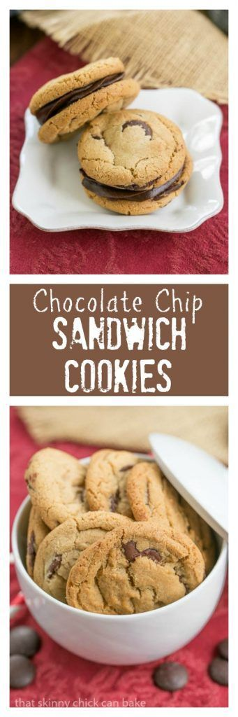 Chocolate Chip Sandwich Cookies | Chocolate chip cookies filled with a decadent, dreamy ganache! @lizzydo