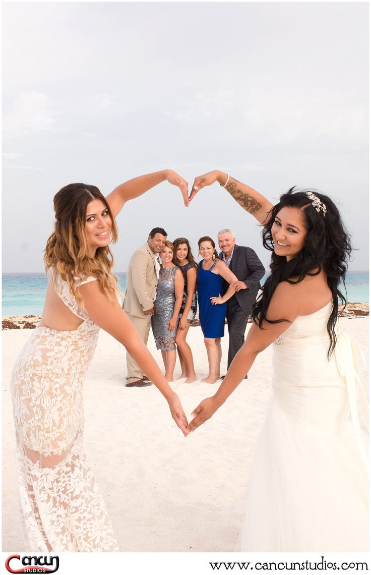 Same sex wedding in #Cancun LGBT wedding #lovewins Lesbian wedding at the beach www.cancunstudios.com