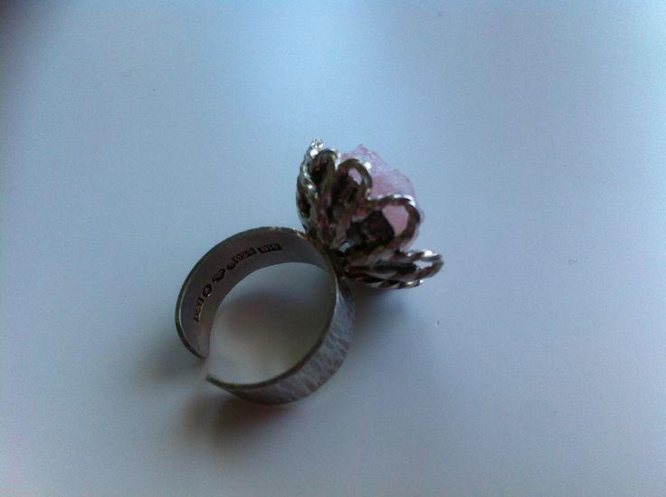 Rough cut rose quartz and silver ring. 1976.