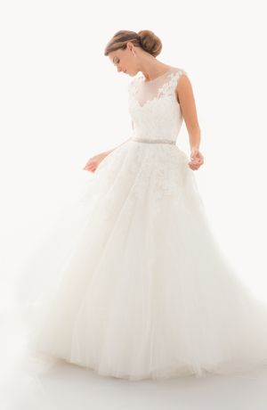 Illusion A-Line Wedding Dress  with Natural Waist in Tulle. Bridal Gown Style Number:33035544 judd waddell