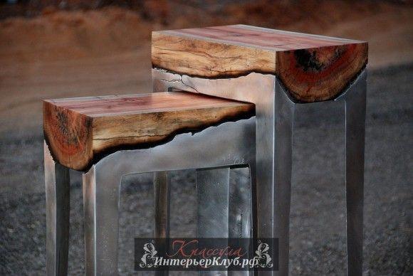 Дизайнер Hilla Shamia разрабатывает уникальную мебель, столы, скамьи и стулья, из литого алюминия и массива деревьев. Мебель из дерева и металла, Дизайнер мебели, Дизайнерская мебель фото, Деревянная мебель ручной работы, Оригинальная деревянная мебель
