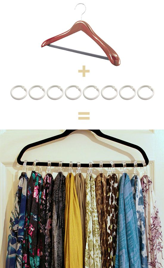 Brilliant way to organize scarfs - and it could theoretically cost you only $2.00 if you pick up the hanger and the rings at the dollar store :3