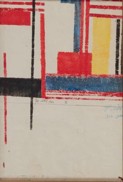KARL PETER ROHL (1890-1975) Composition abstraite, 1922 Pastel sur papier. Signé et daté au centre. H_32 cm L_22 cm