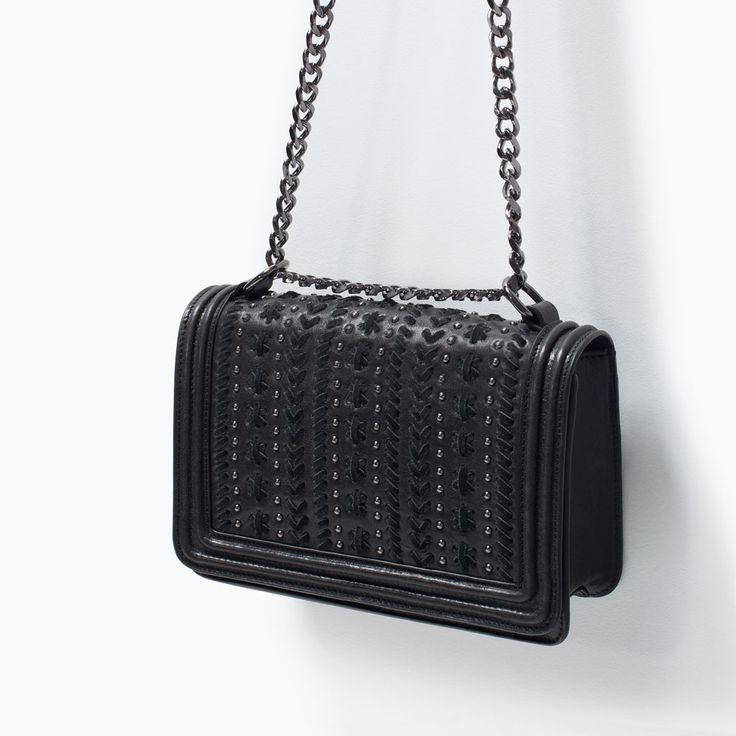 buy replica bag - ZARA - SHOES \u0026amp; BAGS - MICRO-STUDDED LEATHER MESSENGER BAG | Purses ...