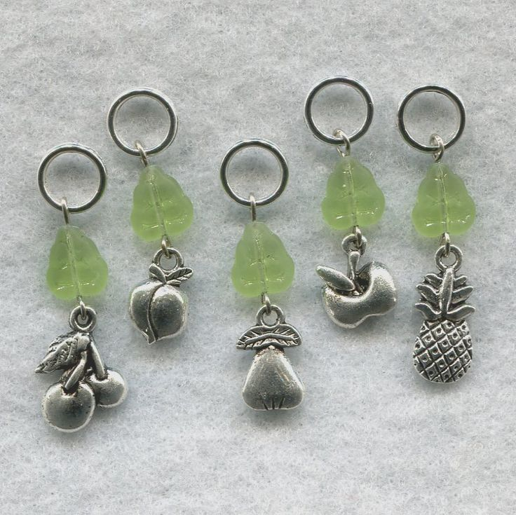 Fruit Knitting Stitch Markers Farmers Market Apple Pineapple Pear Peach Cherries Set of 5 /SM106 from GloriaPatreSpinNKnit on Etsy Studio