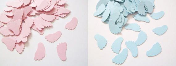 footprint confetti baby shower pink and blue di LaSoffittaDiSte