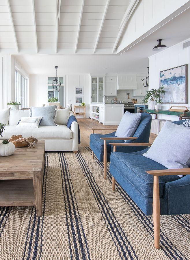 Lake House Decor Ideas Beach House Interior Coastal Living Rooms Blue Living Room