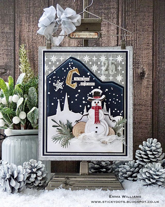 Do you want to build a snowman? Christmas Wallhanging created by Emma Williams using Sizzix dies from Tim Holtz