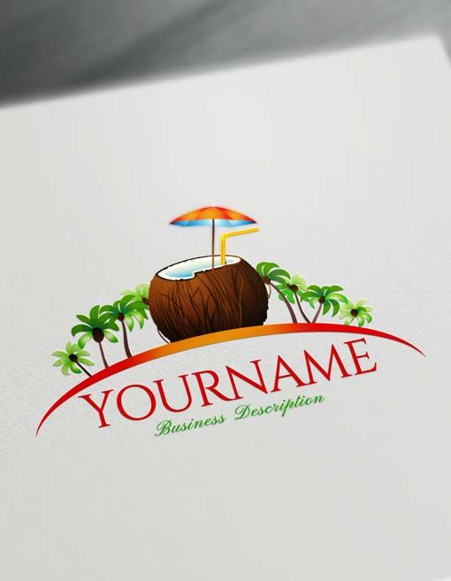 Online Tropical Coconut Logo Generator Ready-made Online Tropical Coconut Logo Template decorated with an image of an exotic Island with a tropical Coconut tree over a sunset.  Brand your company with Creative Coconut Logo Designs Browse our ready-made emblem gallery. We have 1,000's of great logo design ideas for you to choose from. Find the perfect template for your company.  Create