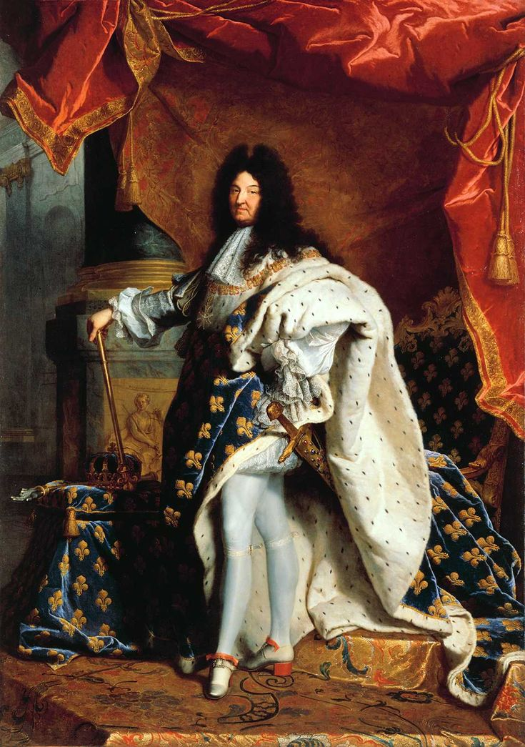Rigaud, with his sumptuous and noble manner, was well suited to paint the Great King. Painter and model had an equal love of pomp and decoration. It is therefore in the pomp of the royal attributes that the majestic monarch is represented.