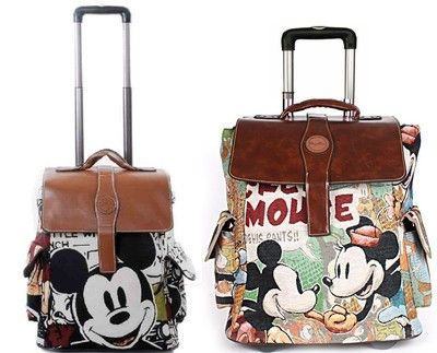 i want this luggage!!! Disney Mickey Minnie Mouse Travel Handbag Luggage Bag Trolley Roller 17 19 20 | eBay