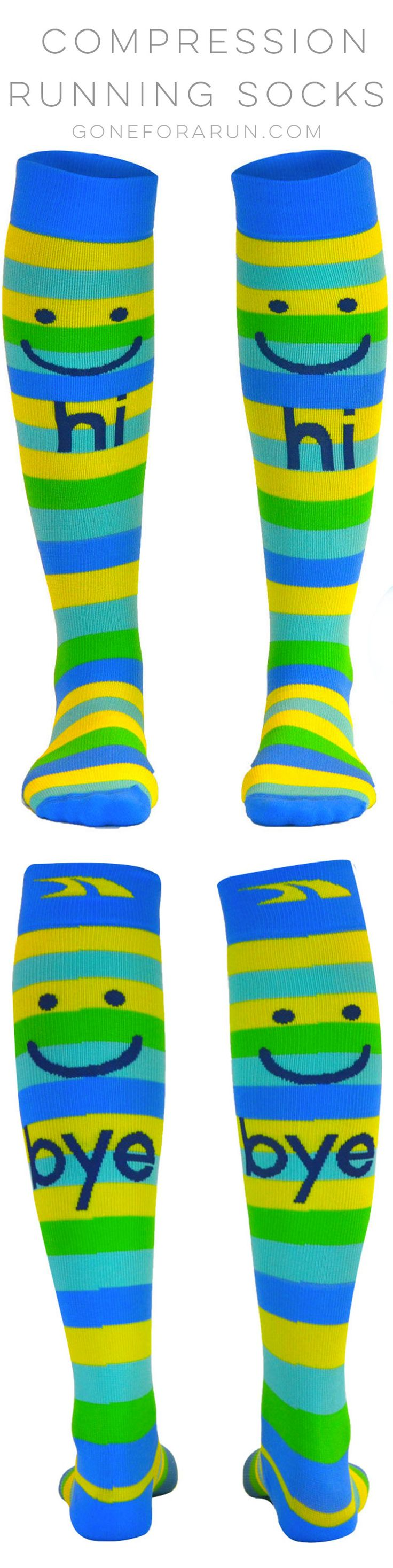 Hi Bye Knee High Compression Running Socks. Let your socks speak for you on your next run! Compression socks that are awesome and affordable from goneforarun.com