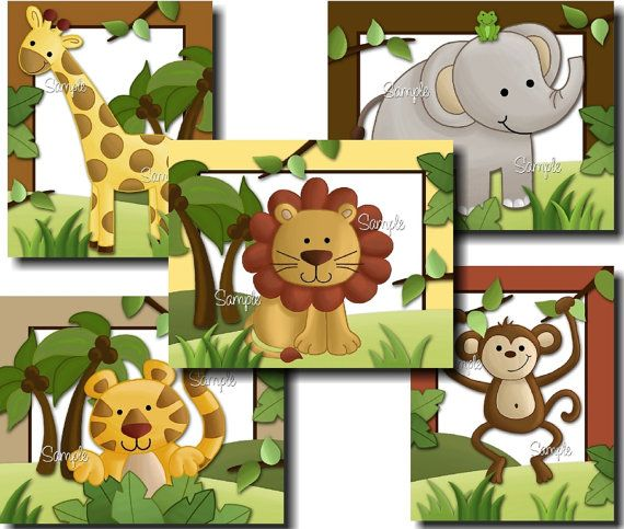 Set of 5 Jungle Safari Animals  Elephant by LittleMonkeyDoodles,