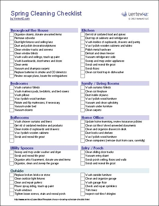 17 Best images about Clean homes on Pinterest Free printable - sample spring cleaning checklist