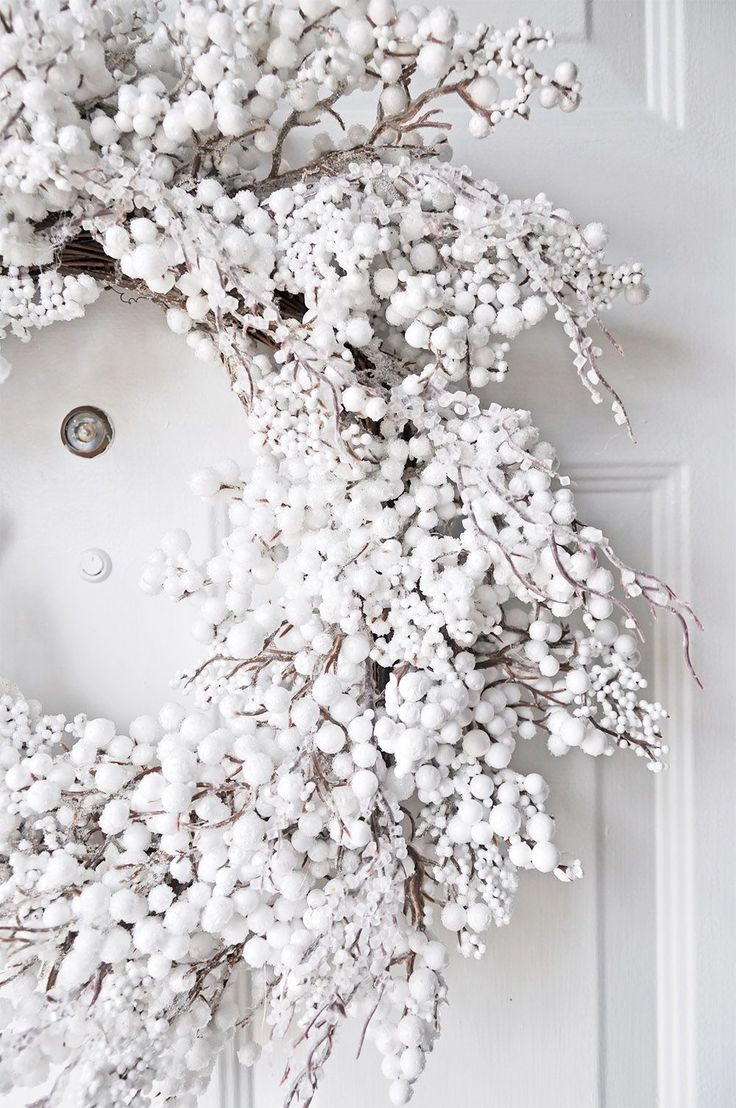 Gorgeous white Christmas wreath for the front door