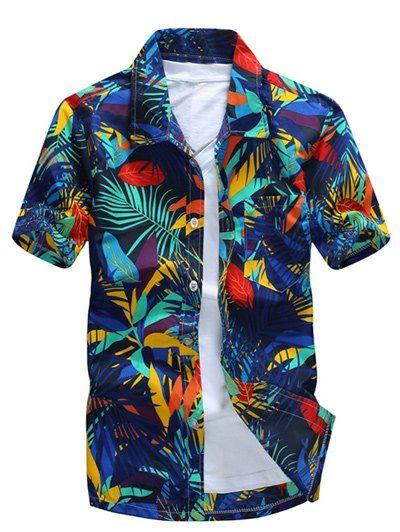 All Over Leaves Print Casual Hawaiian Shirt In Blue,2xl | Twinkledeals.com