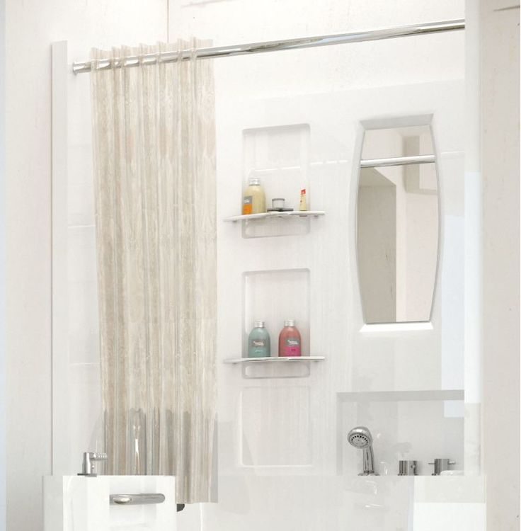 "Avano AV3140SEN Tub Enclosures 39-1/8"" Acrylic Shower Wall Bathtub for Alcove In White Showers Shower Walls Acrylic"