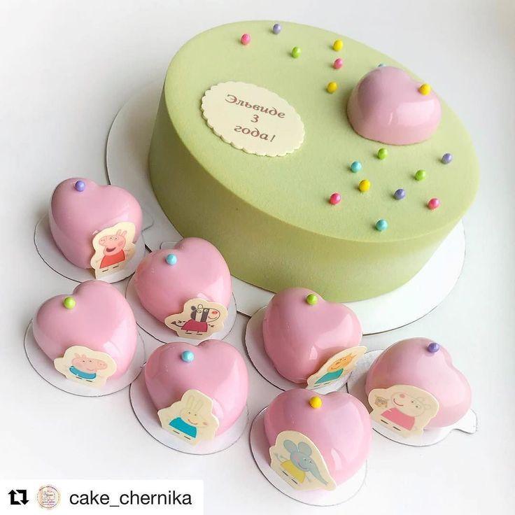 #Repost @cake_chernika (@get_repost) @bakelikeapro  Пока в нашей будущей кондитерской небольшой ремонт и установка оборудования покажу вам торт и пирожные на день рождения малышки с необычным именем . Торт Карамель-мокко пирожные Клубничный фреш.