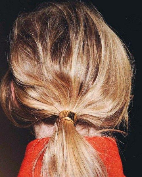 heavy metal ponytailMessy Ponytail, Messy Hair, Hair Ties, Gold Rings, Girls Hairstyles, Hair Style, Hair Accessories, Ponies Tail, Heavy Metals
