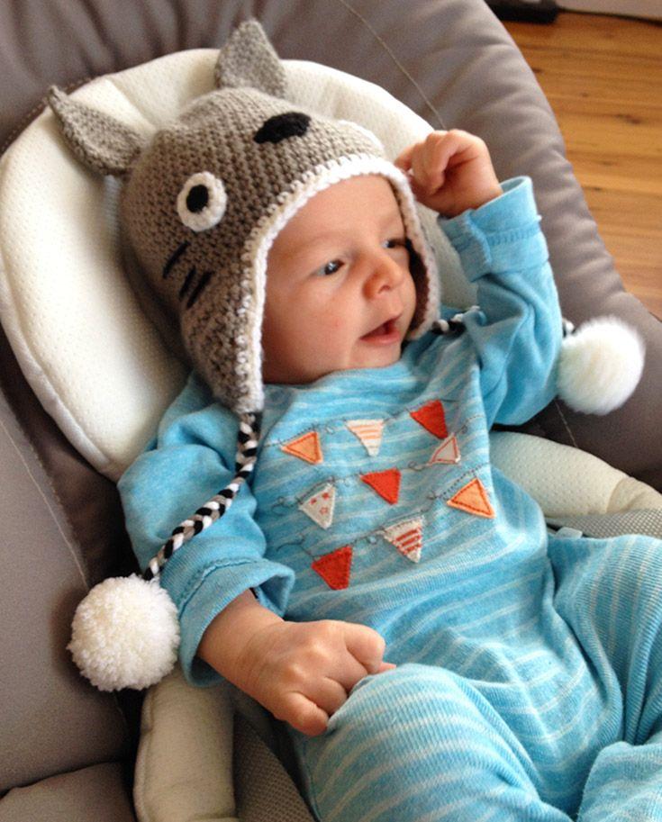 Cute crochet Totoro hat for a newborn baby.