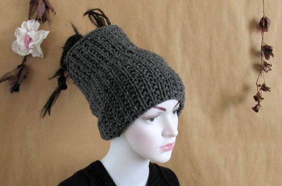 Dreadlocks tube hat, black grey headband, wide knitted dreads hair wrap  reversible