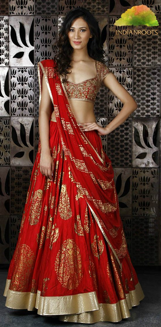 #Red Chanderi Silk #Lehenga with Foil Print by Rohit Bal #Shop at Indianroots.com
