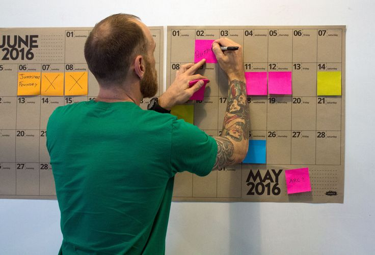 Large wall calendars designed to use with Post-It sticky notes. Specifically created as a way of being able to view the year as a whole and move events from date to date. stoke.d