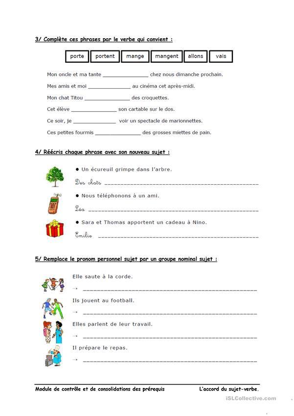 L'accord sujet-verbe | Exercices de compréhension, Exercice ce1 et Fiches pédagogiques