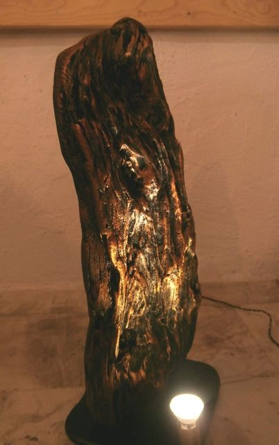 Driftwood lamp, bronzed and featuring two spotlights.   Made by Driftwood Art, Skiathos. https://www.etsy.com/listing/496203170/driftwood-lamp-titan-featuring-two?ref=shop_home_active_7
