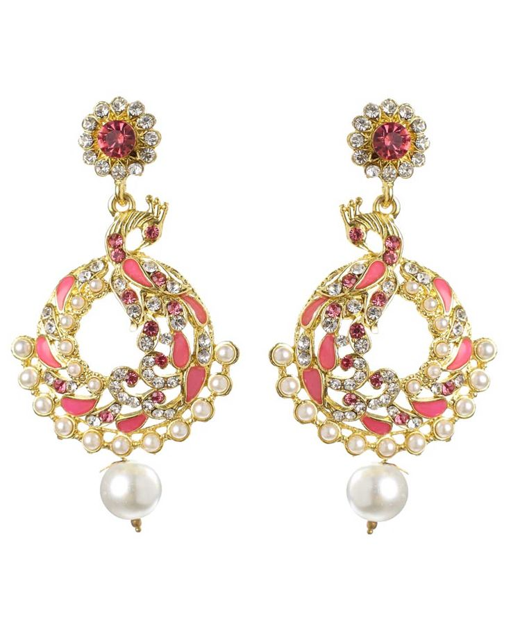 Best for wedding & engagement, Kriaa Austrian Stone Pink Meenakari Peacock Pearl Drop Gold Plated Dangle Earrings @ Rs. 295/- Buy now at http://www.jewelmaze.in/product/AAA0450/Earrings/Kriaa-Austrian-Stone-Pink-Meenakari-Peacock-Pearl-Drop-Gold/?pd=EGK#.VtbBzX197IV