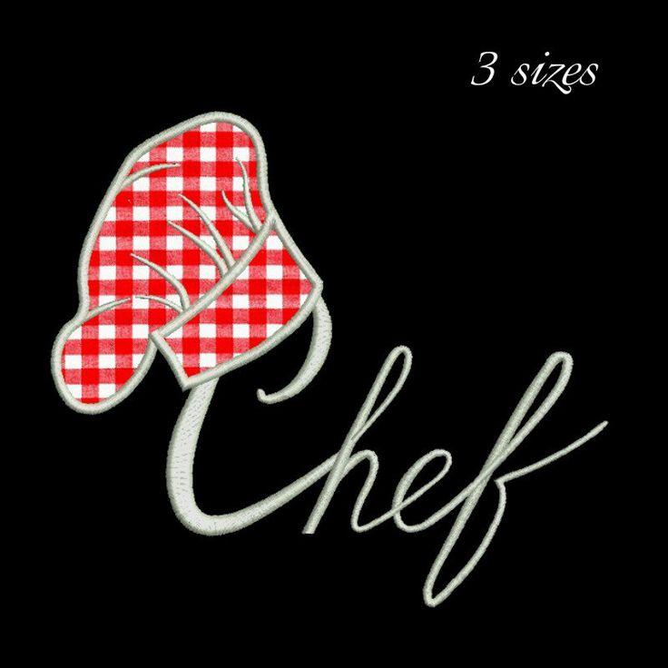 Cook hat applique embroidery design,chef design,digital download, pattern,kitchen,mom,cuisine by GretaembroideryShop on Etsy