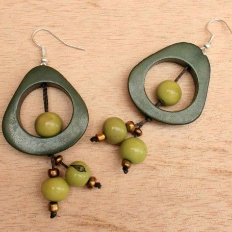 Green Carved Tagua and Acai Beaded Earrings #eco #organic #dangling Pin it to Win it: http://www.theearthfriendlyfamily.com/pin-win-choice-item-artisans-andes/