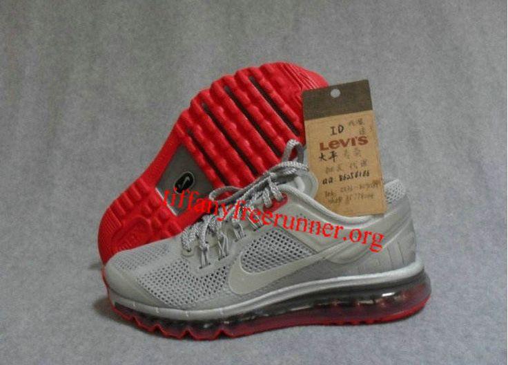 Mens Nike Air Max 2013 Reflective Silver Reflective Silver Pimento Shoes