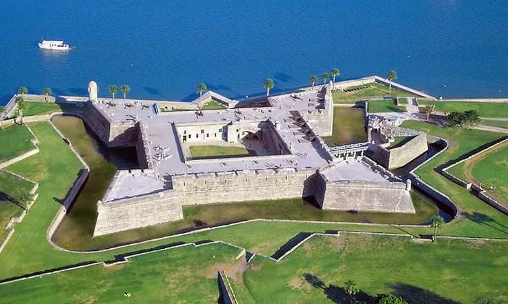 Aerial view of the historic Castillo de San Marcos in St. Augustine, Florida.  -  The Castillo de San Marcos is St. Augustine's biggest attractions, and the oldest structure in the entire city!