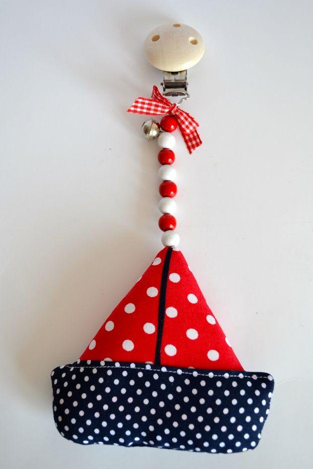 gepunkteter Kinderwagenanhänger Boot, Schiff, maritim // polka-dotted cuddly toy for bram, stroller, buggies by Babyzeit via DaWanda.com