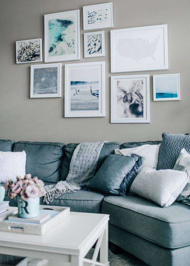 51 Stunning Living Room Wall Gallery Design Ideas Roundecor Blue Grey Living Room Living Room Decor Gray Wall Decor Living Room #vintage #living #room #wall #decor
