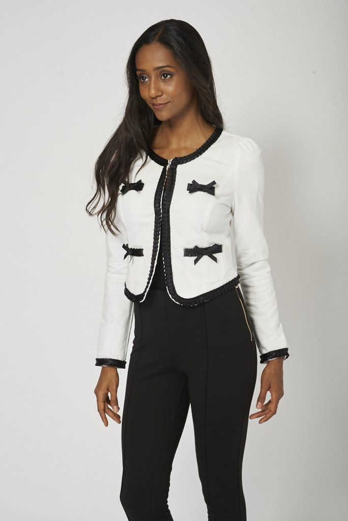 Pretty Little Jacket With Frill And Bow Detail